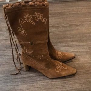 Roper dress cowgirl boots suede brown 9